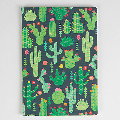 Sass and Belle A5 sized Notebook - Green Colourful Cactus design, Plain paper