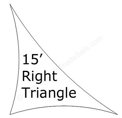15' Right Triangle Shade Sail Made in USA  Multiple Colors Available NO SEAMS