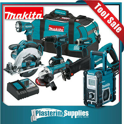 Makita 18v Li-Ion 6 Tools + Jobsite Radio 2x 3Ah Batteries Charger Bag Kit XD601