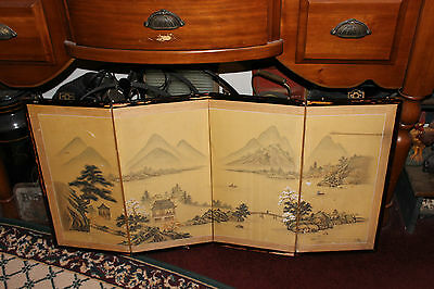 Vintage Asian Japanese 4 Panel Wall Art Painting On Silk Fabric-Mountains Water