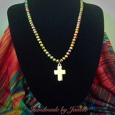 Multi Coloured Beads With A Gold Cross Necklace Religious Handmade