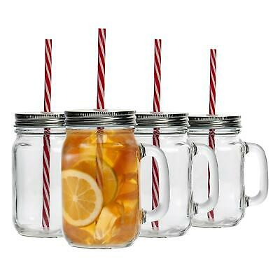 Jam Jar Mason Drinking Cocktail Glasses With Handle, Covers & Straws - 450ml x4