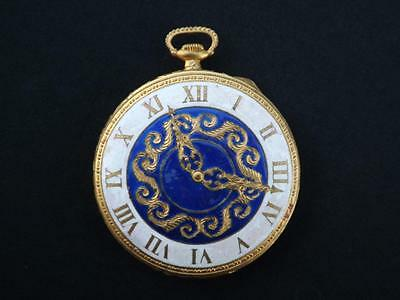 Beautiful Enameled Vintage Compact Figural Pocket Watch Italy