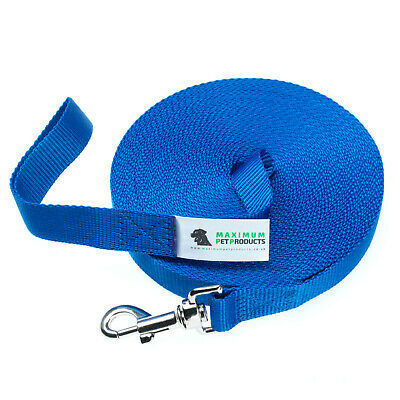 50ft Blue Dog Lead & Horse Training Leash. 15m long 25mm Wide Webbing With Clip