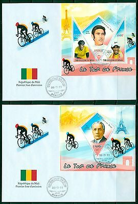 Mali Cycling Bicycles Tour de France Paris Eiffel Tower FDC set of 2 covers