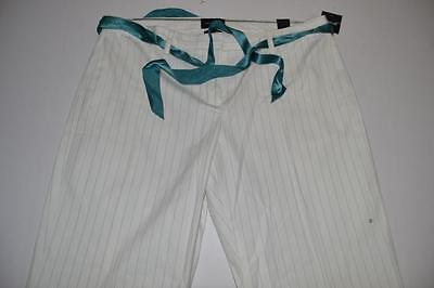 The Limited Drew Fit White Blue Striped Capri Pants Womens Size 12 New