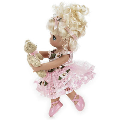 "Precious Moments 9"" Dance With Me Blonde Doll holding bear + Doll Stand NEW"