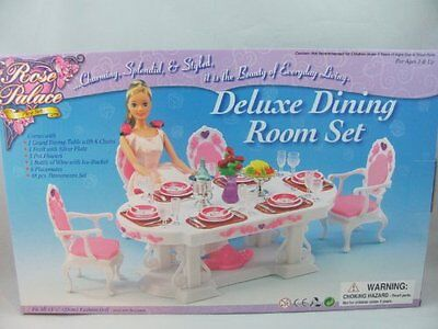 Barbie Size Dollhouse Furniture Dining Room PINK Doll Chair Table Play Set New