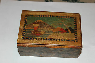 Antique Japan Wood Inlay Trinket Storage Box Mt. Fuji Boat Village Water-Drawer