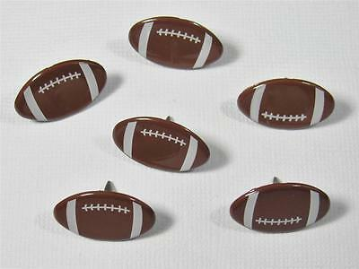 BRADS FOOTBALL pk of 6 sport rugby league balls scrapbooking craft split pin