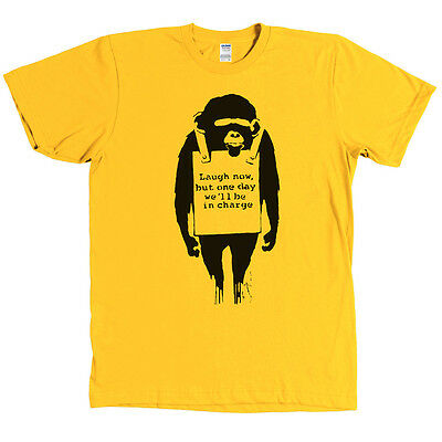 Banksy Laugh Now But One Day We'll Be In Charge Monkey Shirt - MANY COLORS