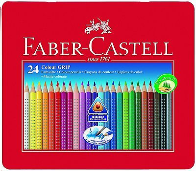 Faber-Castell Tin of 24 Colour GRIP 2001 pencils Quality Colouring Pencils NEW