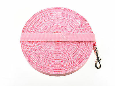 100ft Baby Pink Dog Lead & Horse Training Leash. 30m long 25mm Wide Webbing Clip