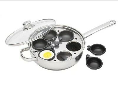 KitchenCraft Induction 6 Non-Stick Cup Poached Egg Poaching Pan Large 28cm