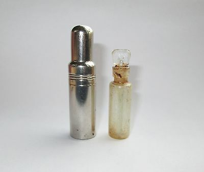 ANTIQUE TRAVEL SMALL GLASS PERFUME SCENT BOTTLE w NICKEL PLATE PROTECTING HOLDER