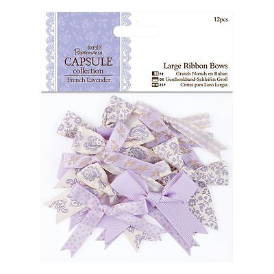 Papermania 12-Piece Capsule Large Ribbon Bows, French Lavender PMA 367217