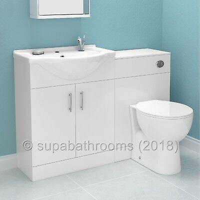 Bathroom Furniture Suite Vanity Unit Cabinet Toilet Basin Back To Wall WC Laura
