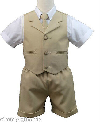 3019a45d8 New Baby & Boy Formal Wedding Party Eton Vest Shorts Suit New born to 4T  Khaki