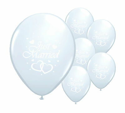 "8 JUST MARRIED WHITE (with white writing) 12"" HELIUM QUALITY PEARLISED BALLOONS"