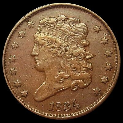 1834 United States Half Cent Classic Head Coin Extremely Fine Condition