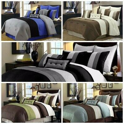 Chezmoi Collection 8-Piece Luxury Pintuck Pleated Stripe Duvet Cover Set