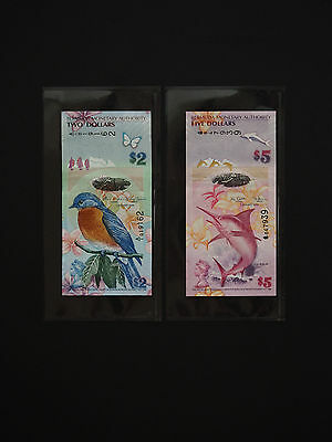 Bermuda Banknotes  -    Set Of  $2  &  $5  Notes  -  Colourful   *  Unc  *