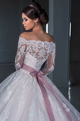 Married Long Sleeve Lace White/Ivory Wedding Dress Bridal Ball Gown Custom 2-28+