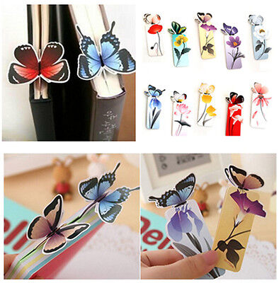 4x Reading Essential Cute 3D Butterfly Bookmark Note Pad Memo Stationery Gift BO