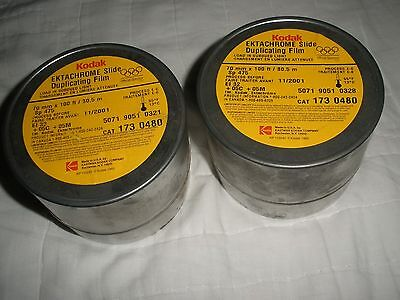 HTF Vintage Lot/2 Metal Kodak Ektachrome Slide Duplicating Film Canisters