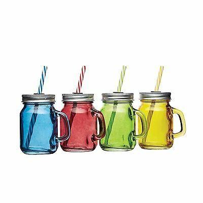 KitchenCraft Bar Craft Set Of 4 Mini Drinks Jars With Straws