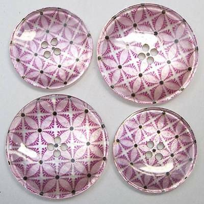 Lovely Retro Style Buttons Printed Glass Style.Pink Cerise Mauve Petal. 22 &27mm