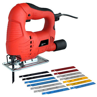 350W Electric Jigsaw + 14 Wood Metal Plastic Jig Saw Power Tool Cutting Blades