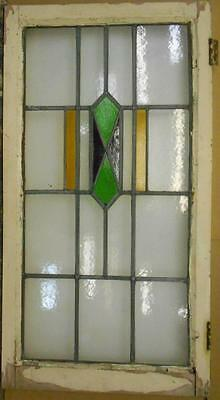 "LARGE OLD ENGLISH LEADED STAINED GLASS WINDOW Simple Geometric 20.25"" x 38"""