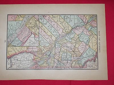 1884 McNally Antique MAP QUEBEC CANADA