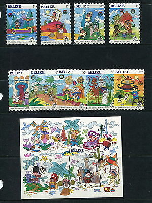 "Belize 1985 #786-95 Christmas ""It's a small world"" Disney set & sheets  MNH G271"