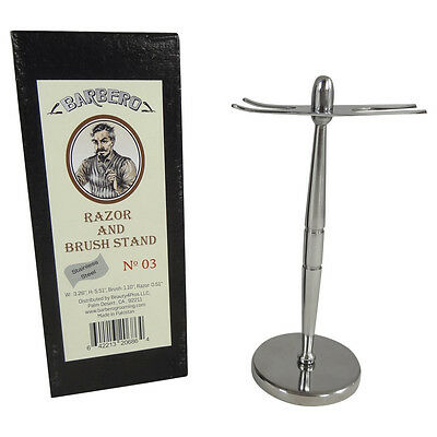 Barbero Deluxe Stainless Steel Razor and Brush Stand No.03