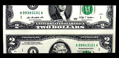 "2009 $2 FRN Boston ""A""A"" Block With 2 Different Serials False Cutting Error UNC"