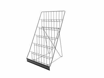 6-Tiered Wire Display Rack for Tabletops,Open Shelves, with Header-Black119352