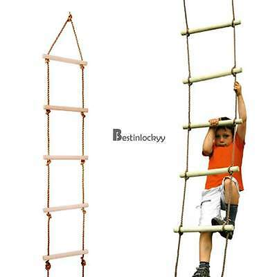 New Wooden Climbing Rope Ladder For Indoor Playground, Outdoor Tree Swing Set