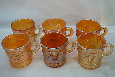 Vintage Carnival Glass Banded Grape Pattern Dugan Set 6 Mugs Cups Marigold