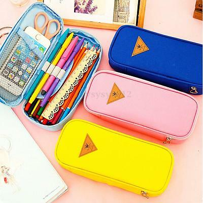 Stationery Canvas Pen Pencil Case Cosmetic Bag Travel Makeup Bag capacity High