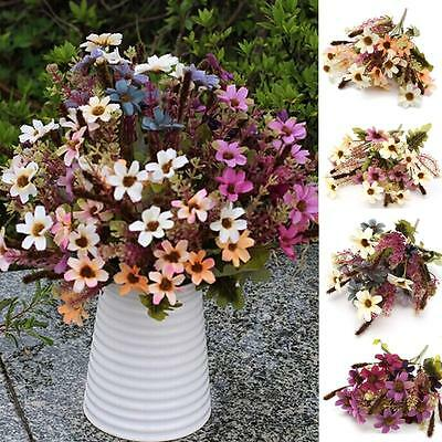 18 Heads Fake Silk Flowers Bouquet Artificial Daisy Wedding Floral Plant Decor