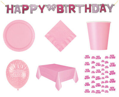 64 Item Set Girls Birthday Lovely Pink Decorations & Tableware Party Pack Bundle