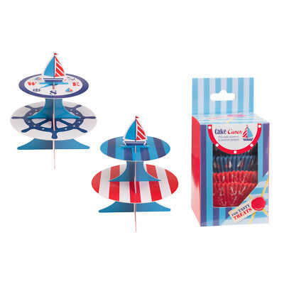 Cake Stand(1) Cases(100) Boys Birthday Party Ahoy There Boat Nautical Set