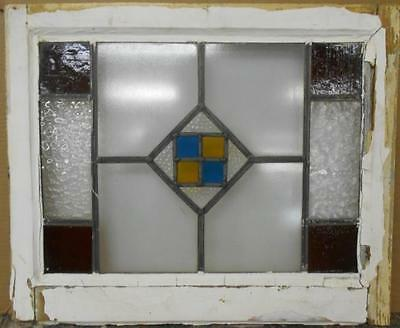 """OLD ENGLISH LEADED STAINED GLASS WINDOW Simple Geometric Design 21.75"""" x 18"""""""
