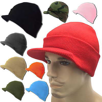 a954d9a1 Beanie Beanies Plain GI Jeep Cap Caps Hat Visor Ski Knit Thick Warm Winter  Skull