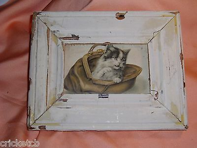 "Adorable Vintage ""CAT in A PURSE"" Postcard in a White Frame  Signed  ""SALE"""