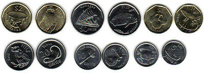 Fiji: 2012 6-Piece Uncirculated Coin Set:  0.05 To $2, Animals