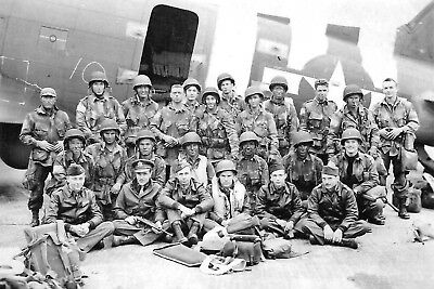 1944- U.S. Army Pathfinders in Front of their C-47 Skytrain Just Before D-Day