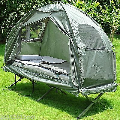 Outsunny Deluxe Portable Hiking Tent Camping Bed Cot Combo w/ Sleep Bag Mattress